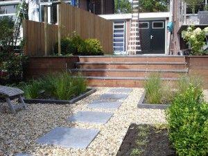 Houten trap met tegels terras garden houten trap