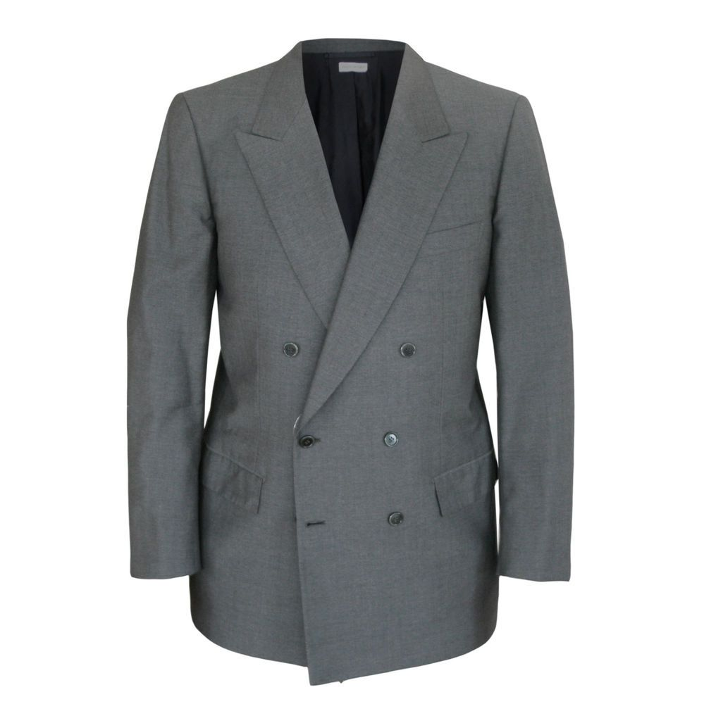 BRIONI $3900 double breasted gray wool blazer sport coat canvased jacket 42/52 R