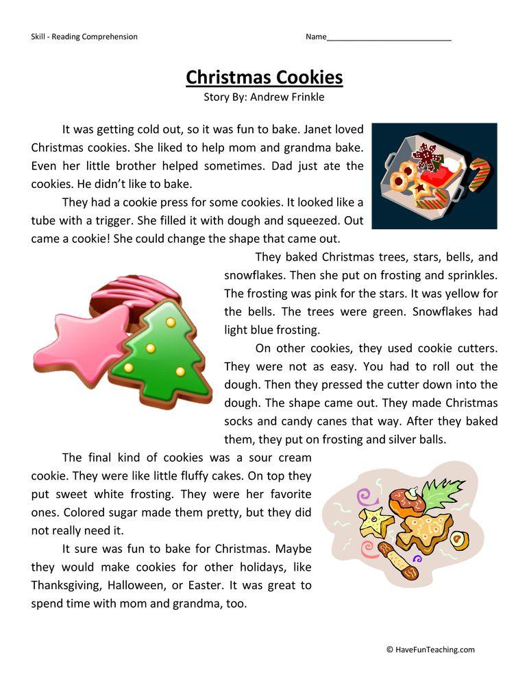 Christmas Cookies Third Grade Reading Comprehension Worksheet ...