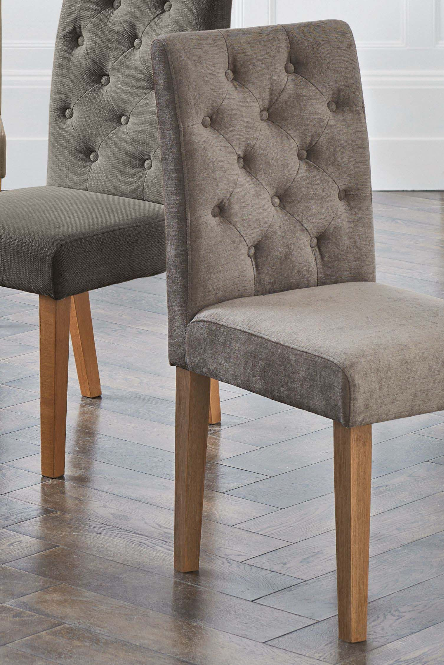 Next Set Of 2 Moda Ii Button Chairs Mink Fabric Dining Chairs Leather Chair Chair