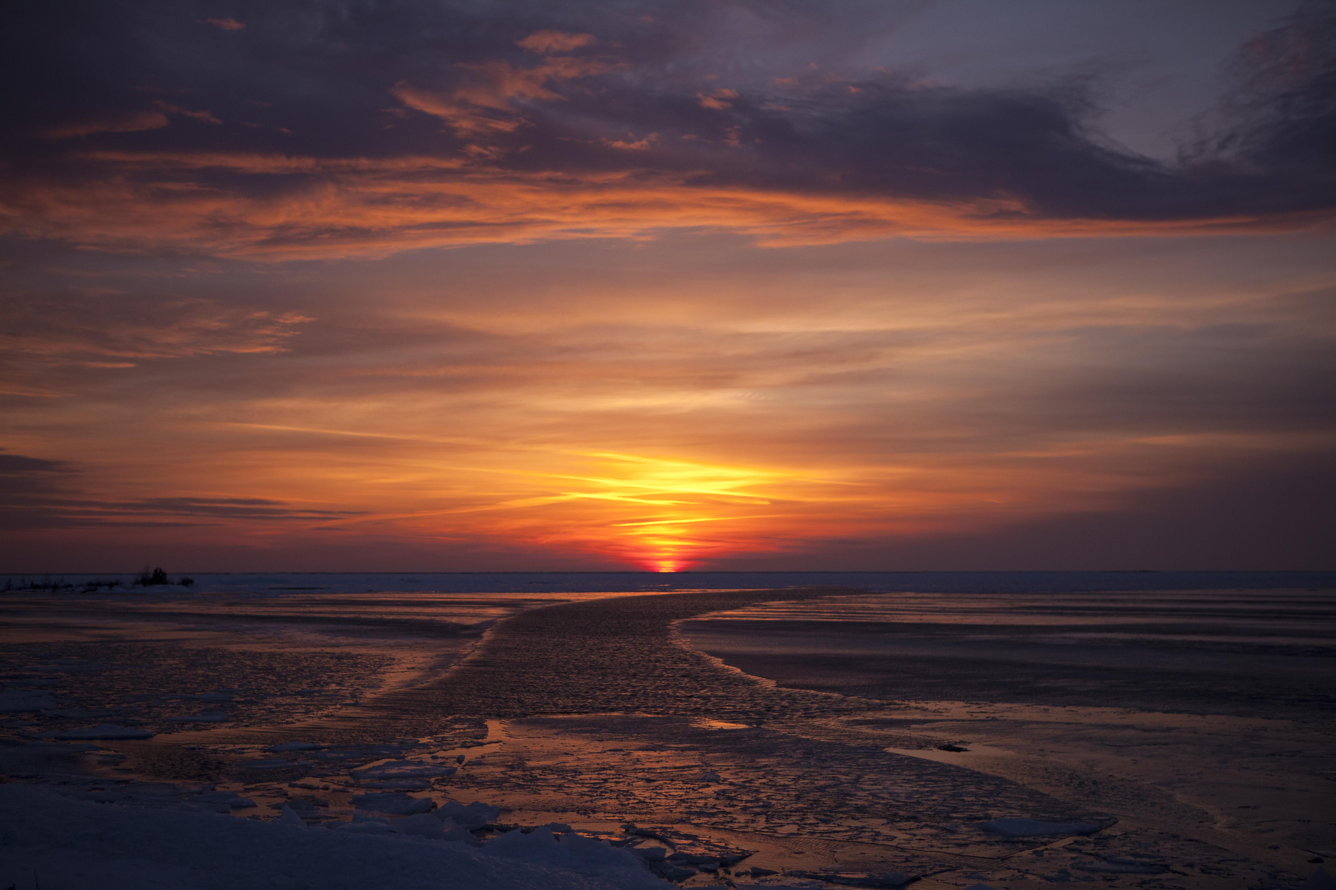 Sunset from Great Lake Huron in Tobermory Ontario by Nikki Morrison