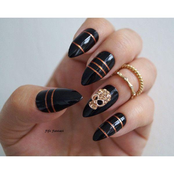 Black Stiletto Nails, Halloween nails, Fake nails, Stiletto nails ...