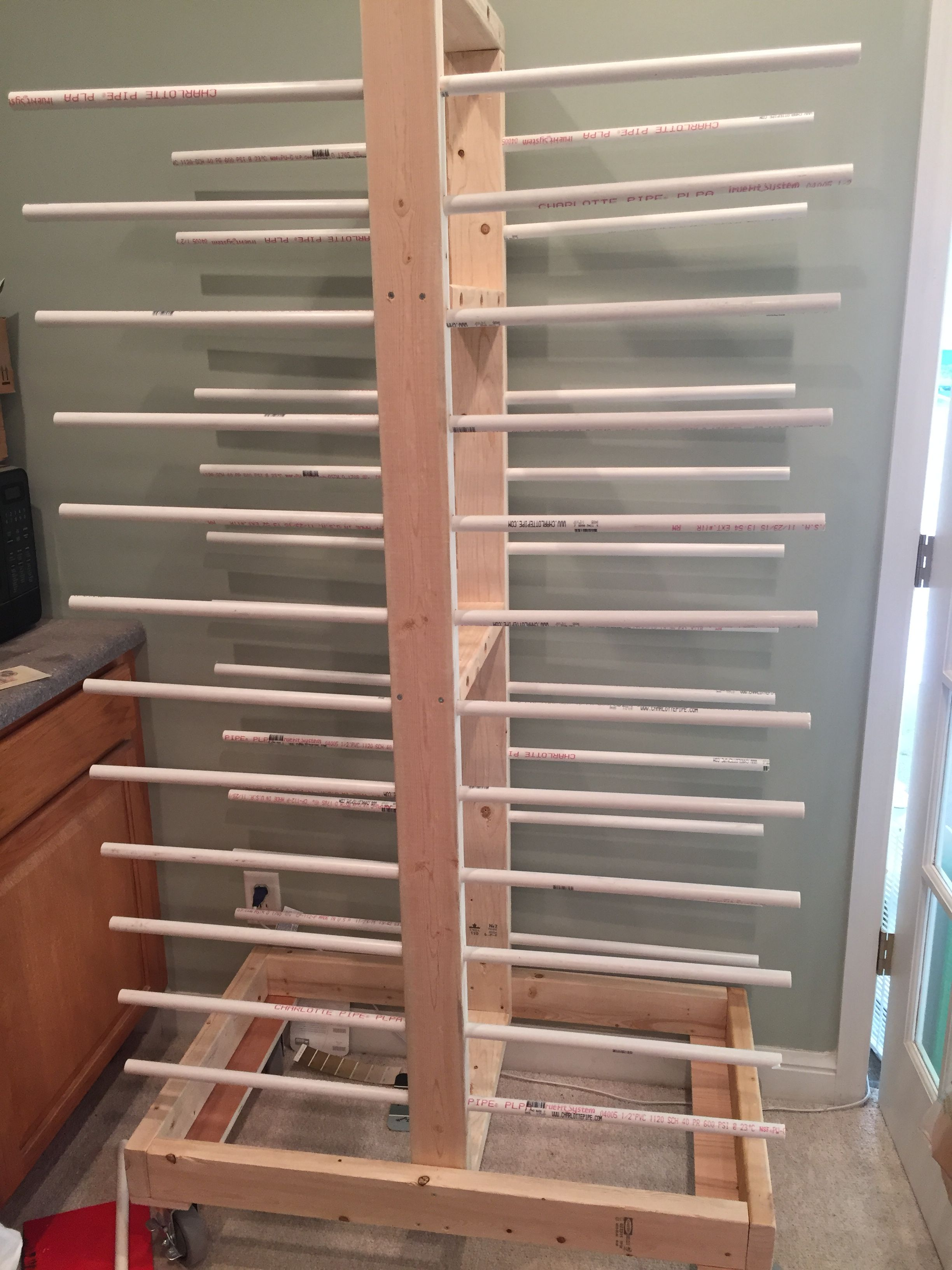 DIY Cabinet door drying rack from pvc pipe  2x4 lumber