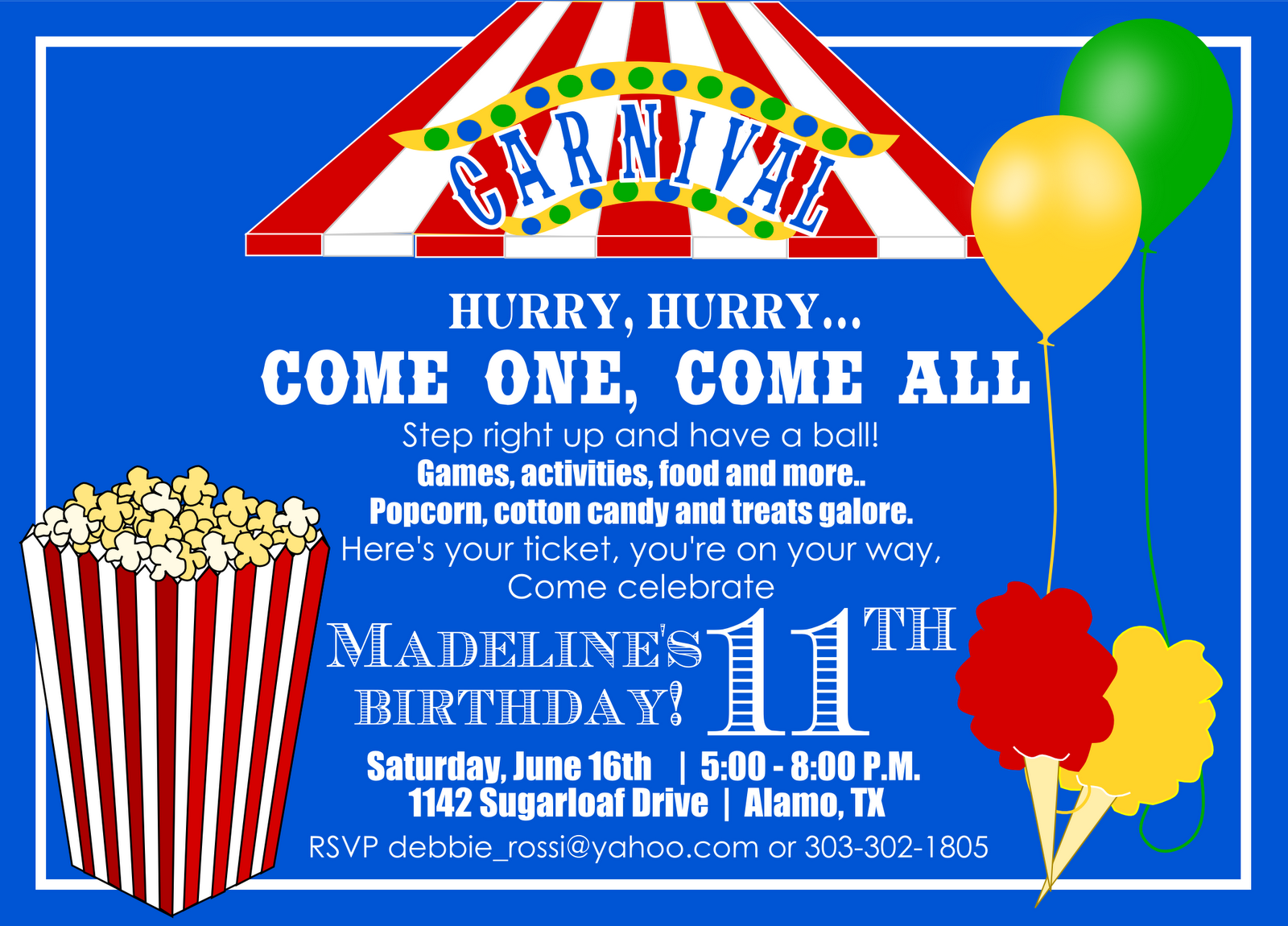 Carnival birthday invitation and ticket for Debbie – Free Printable Carnival Birthday Invitations