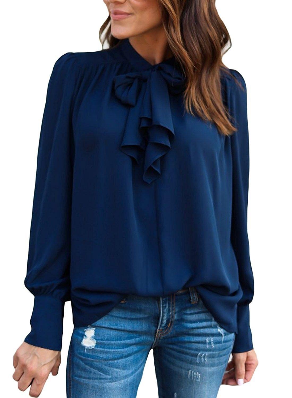 1b36068df1a Women s Tie Neck Long Puff Sleeve Dressy Shirts Drape Blouse Tops ...