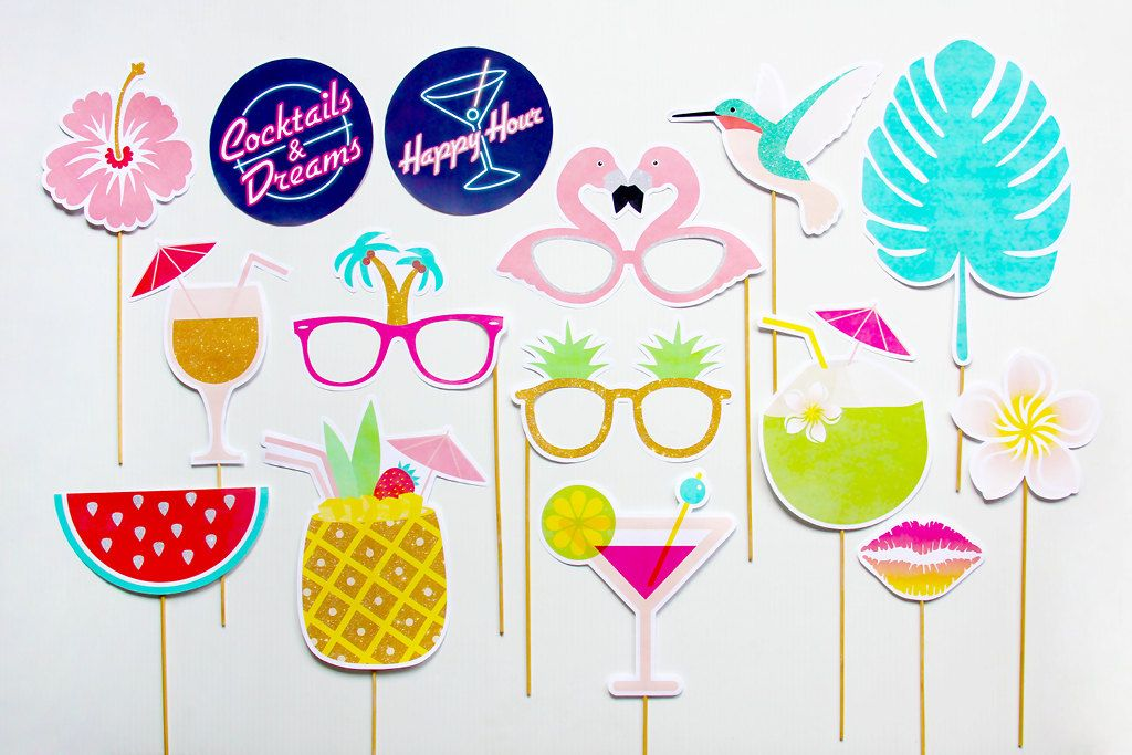 Tropical Party Props, Cocktails and Dreams Photo Booth Props ...