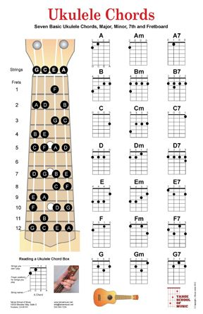 ukulele chords poster | art space | Pinterest | Charts, Ukulele ...
