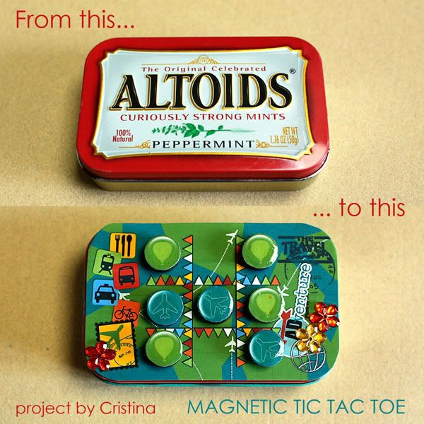 DIY Magnetic Tic-Tac-Toe! Perfect for keeping the little ones entertained on those long road trips!