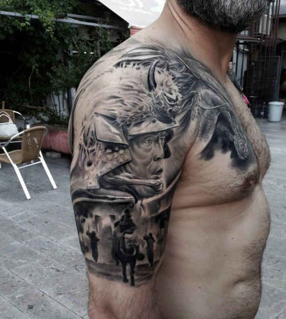 tattoo japan fighter upper arm man http tattootodesign. Black Bedroom Furniture Sets. Home Design Ideas