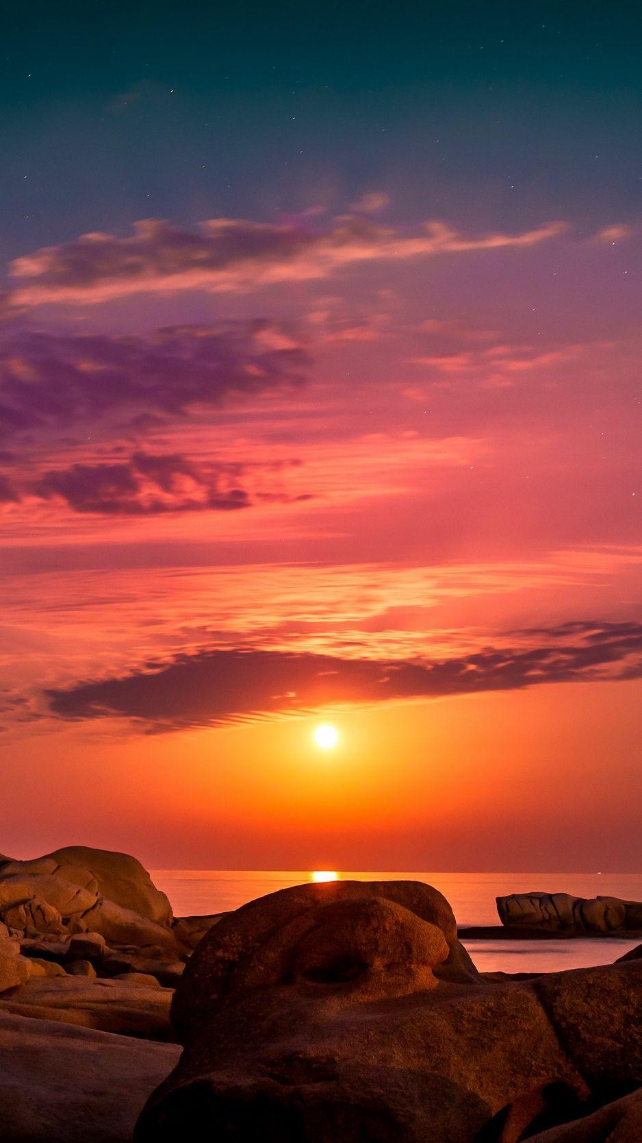 Sea Rocks Sunset Sky Spain Wallpaper Sunset Wallpaper Sunset Wallpaper Iphone Spain Wallpaper