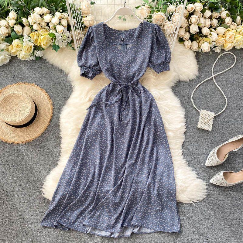 DMS Womens Designer Inspired sweat-heart neckline A-line midi dress in floral