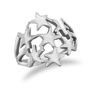 Sterling Silver Cut Out Stars Ring