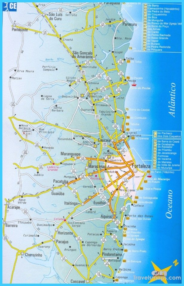Map Of Uk Holiday Destinations.Nice Map Of Fortaleza Travelsmaps Map Fortaleza Places