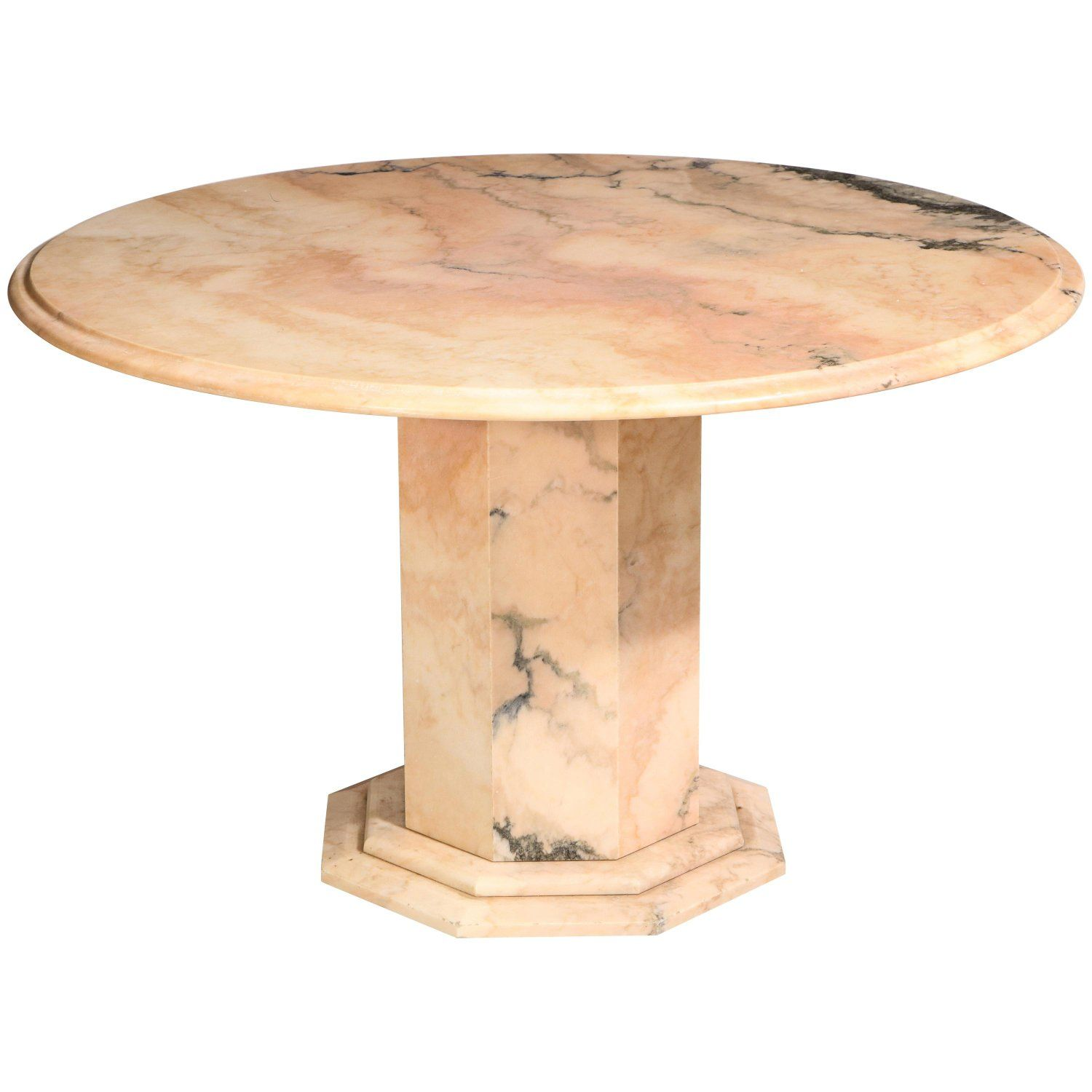 Pink Beige Black Round Marble Centre Dining Table Late 20th
