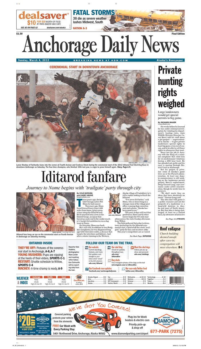 Anchorage Daily News, published in Anchorage, Alaska USA, Mar. 4.