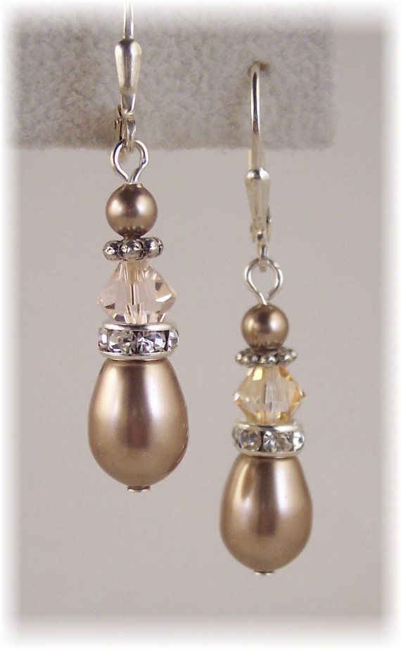 Bridal Pearl Earrings, Golden Shadow and Simulated Teardrop Pearl Earrings with Crystal from Swarovski