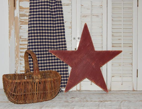 Distressed Wooden Star Primitive Star Wall Decor Rustic Star ...
