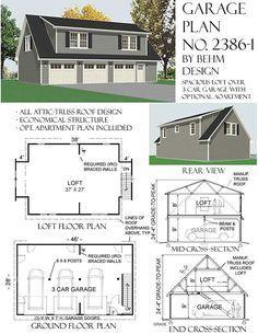 Image result for 3 car garage with shed dormer plans ...