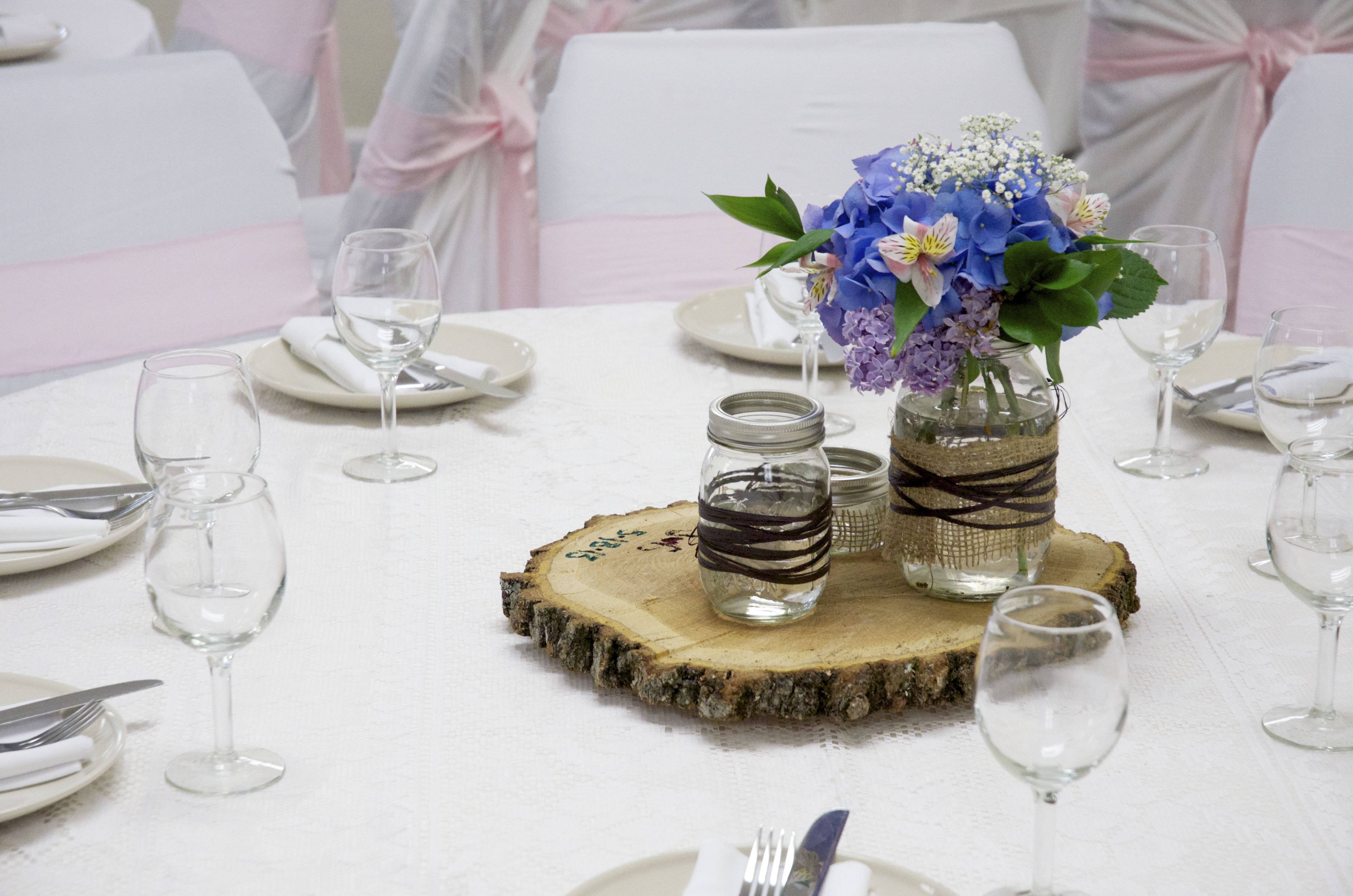 Vintage wedding centerpiece wood slab mason jars