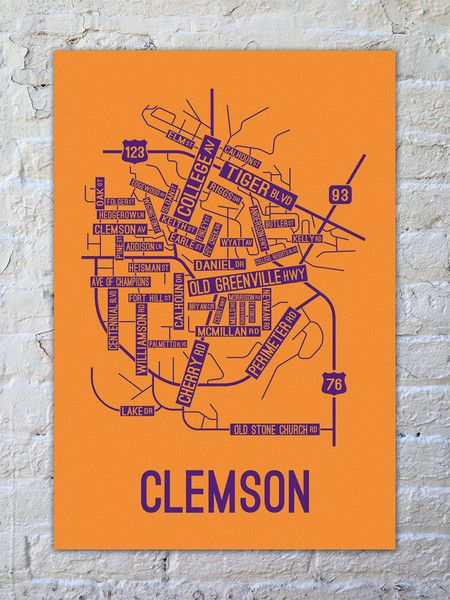Clemson, South Carolina Street Map Print | clemson | Clemson ... on university of houston tailgating, university of southern mississippi tailgating, usc trojans tailgating, western kentucky university tailgating, stanford university tailgating, south carolina football tailgating, oklahoma university tailgating, university of south alabama tailgating, ohio university tailgating, university of illinois waterless tattoos, university of florida tailgating, seven south tailgating, auburn university tailgating, university of washington tailgating, university south carolina gamecocks, university of kentucky tailgating, university of alabama tailgate recipes,