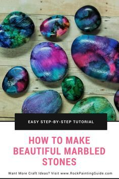 Rock Painting Guide features a tutorial on how to use alcohol inks on rocks and many other tutorials for beginner friendly rock painting