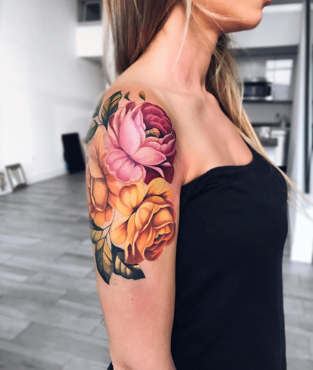 Pony Wave On Instagram Working On Russian Style Flowers Sleeve With Lovely Liza Lash Russianstyle Russianart Flo Waves Tattoo Body Art Tattoos Tattoos