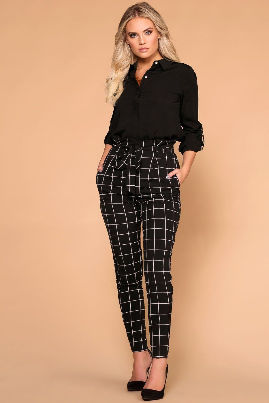 7a37c3494d91 Shawna Black Tie-Front Checked Paperbag High Waisted Pants in 2019 ...