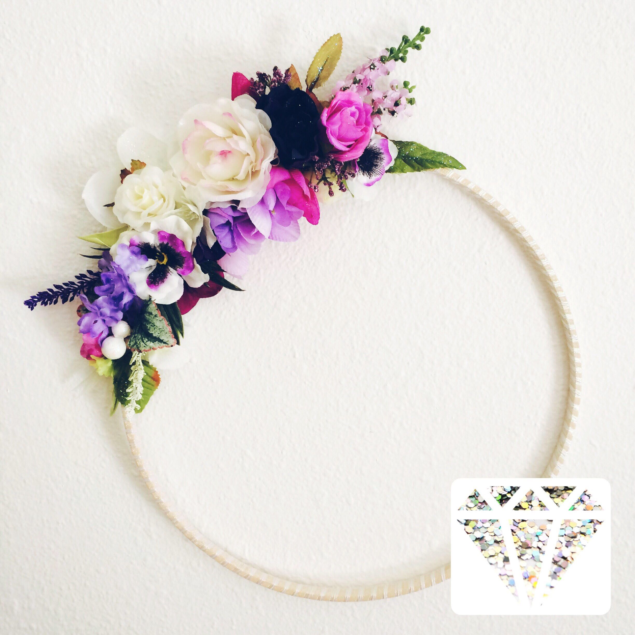 A personal favorite from my Etsy shop https://www.etsy.com/listing/524990695/bright-colors-minimal-floral-wreath-wall