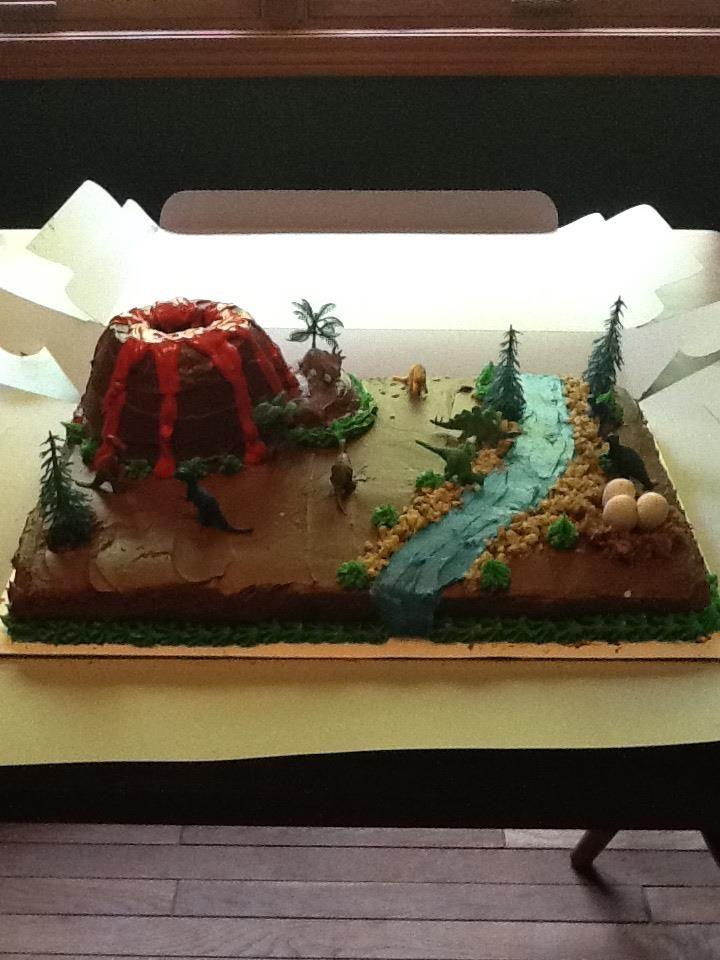 Dinosaur volcano cake Birthday party ideas Pinterest Volcano