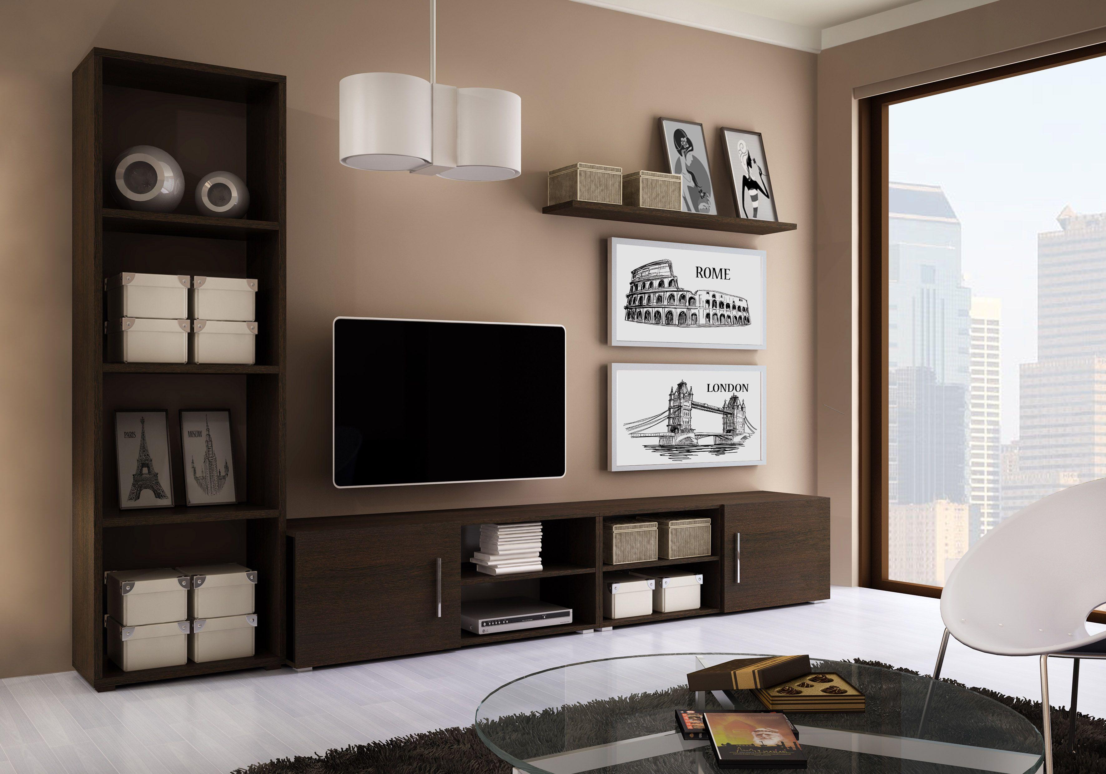 Composici n modular de salon en color wengue decoraci n - Muebles grises paredes color ...