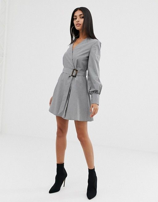 3312617f29852 PrettyLittleThing | PrettyLittleThing belted dress in gray | My ...