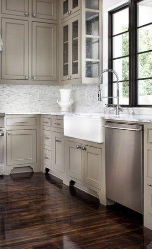 16  Ideas Kitchen White Cabinets Dark Floor Window #darkkitchencabinets