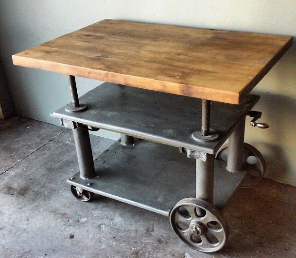 Vintage antique industrial furniture Chairs Table Steel Wood