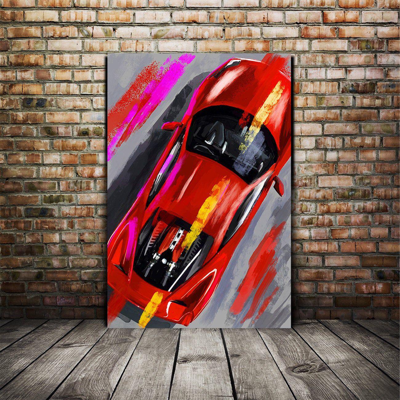 Ferrari 458 Painting Ferrari Canvas Print Italian Classic Etsy In 2020 Car Painting Canvas Home Ferrari 458