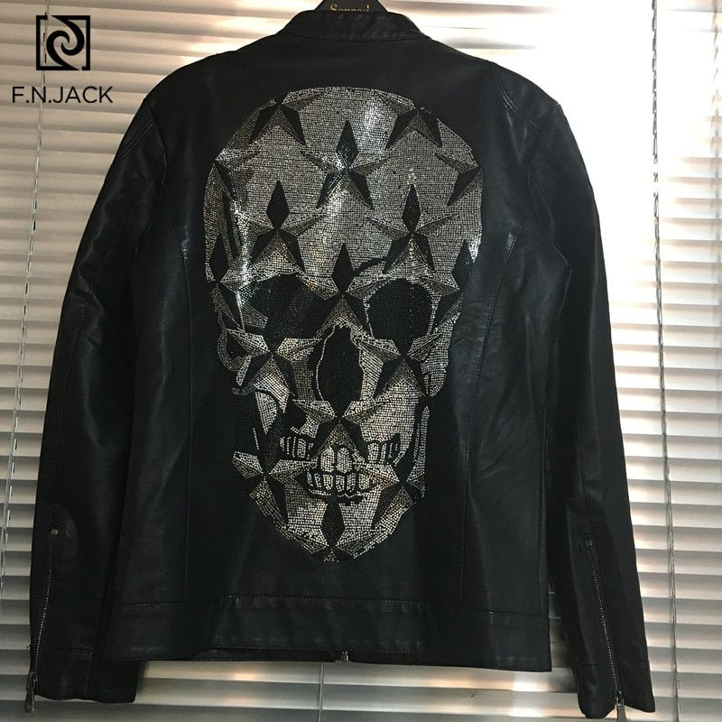 #f.n.jack #winter #coats #rhinestone #skull #leather #jacket #mens #clothes #chamarras #para #hombre #men #motorcycle #faux #jackets