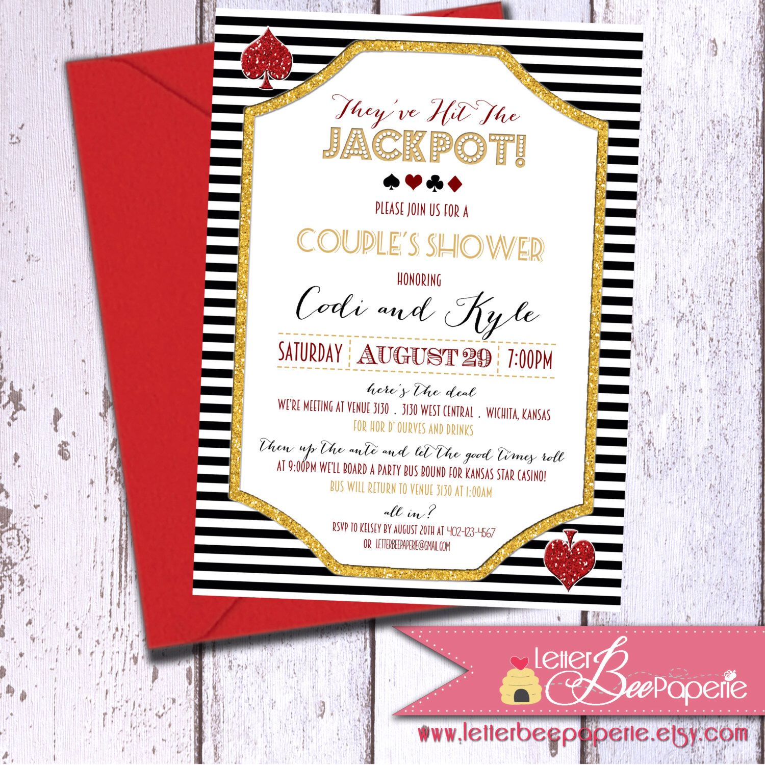 Casino Theme Couples Shower Invitations by LetterBeePaperie on ...