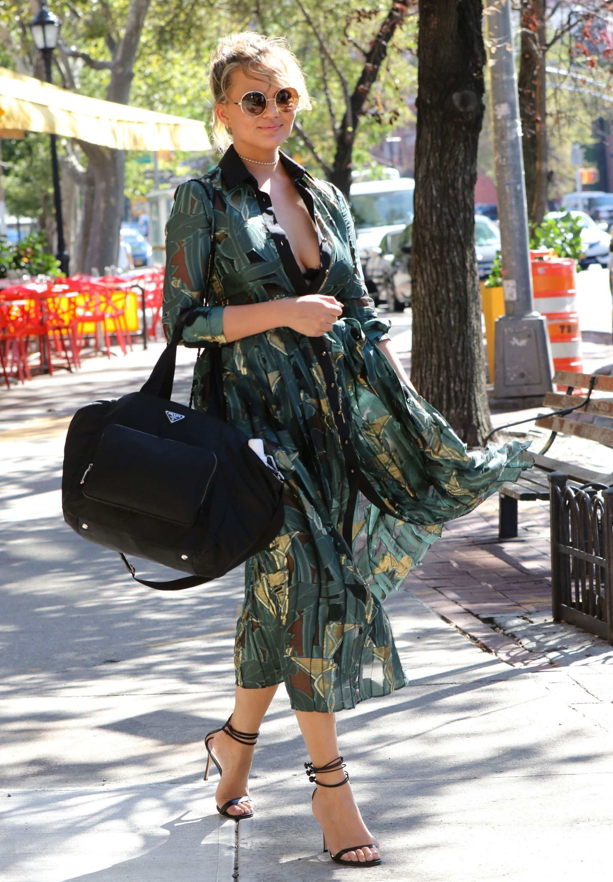 Daily Style Directory: Chrissy Teigen in a printed shirt dress