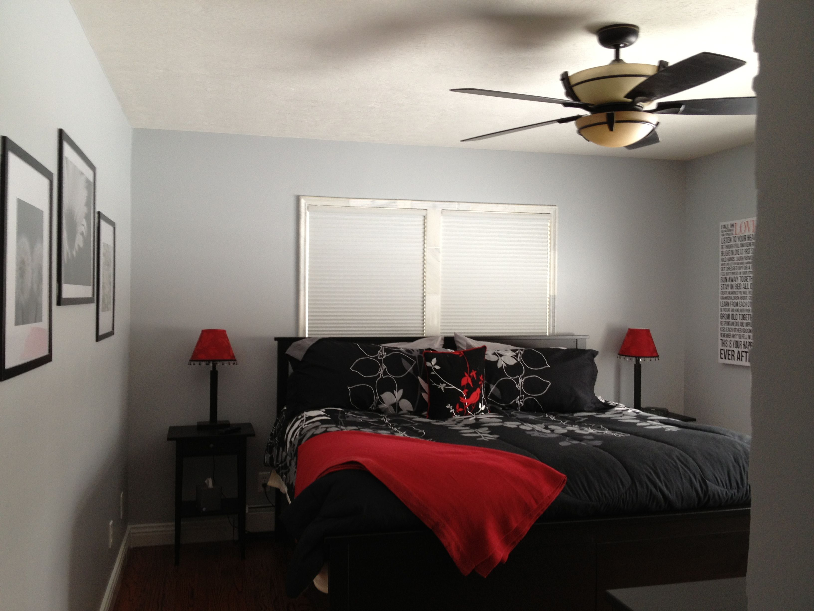 Grey  white  black and red master bedroom  Love it. Grey  white  black and red master bedroom  Love it    Rooms I like