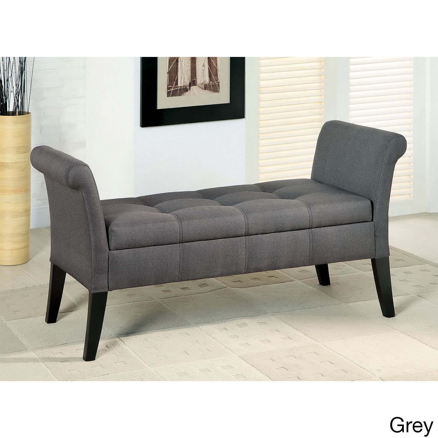 Furniture of America Dohshey Fabric Storage Accent Bench (Grey ...
