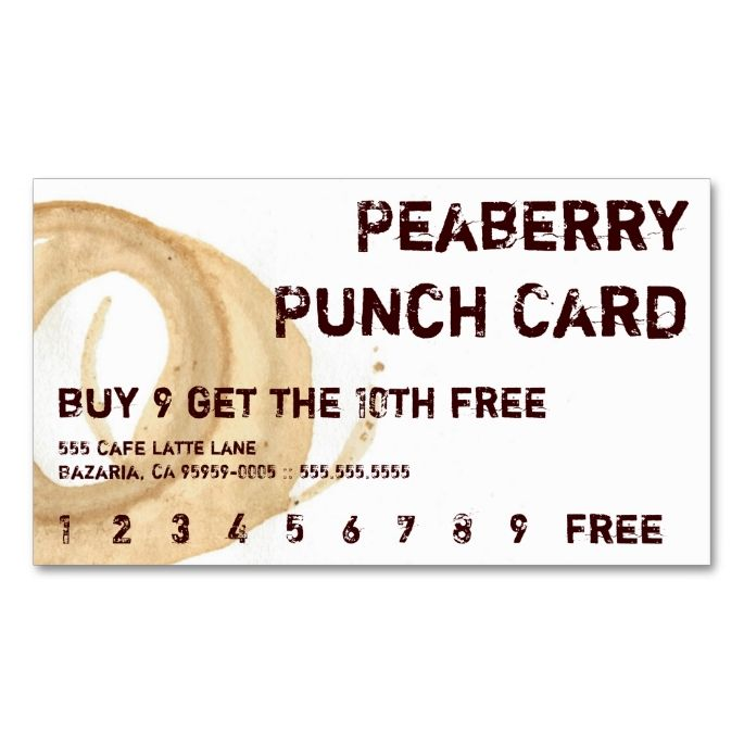 Coffee Stain Drink Punchcard DoubleSided Standard Business Cards - Free punch card template or design