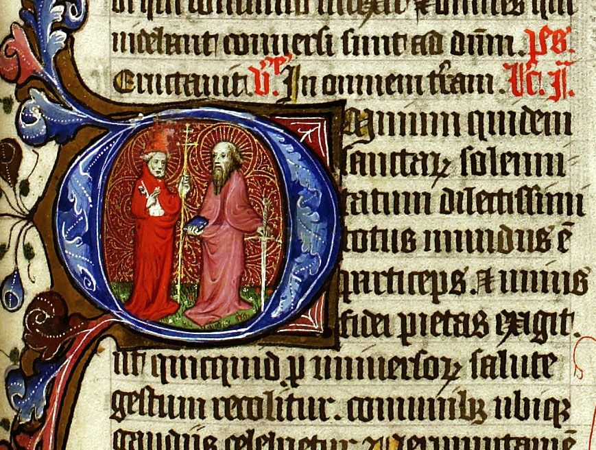 Peter and Paul, Apostles. Peter in tiara with keys, Paul with sword, from The Chicheley Breviary, LPL MS 69, f. 344