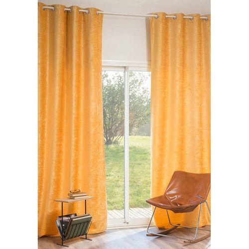 Ösenvorhang VINTAGE VELVET CURCUMA aus Samt, 140 x 300 cm, gelb
