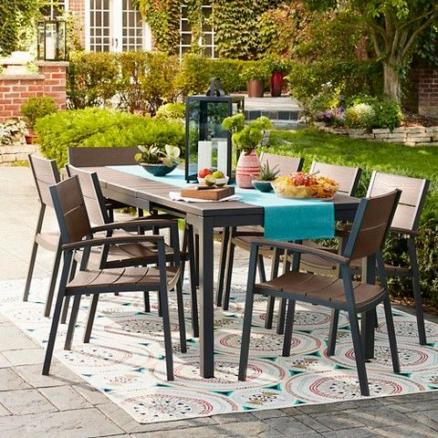 Sommer 9pc Faux Wood Dining Set Threshold Target