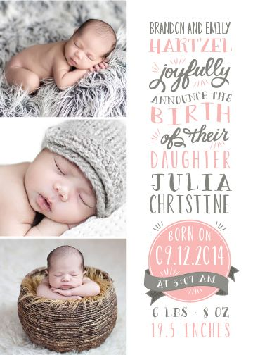 Hand lettering typogrpahic birth announcements - Dearest by Sarah Brown