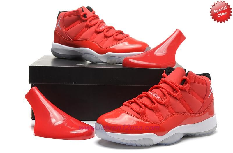 Where To Buy Cheap Red Suede 378037-623 AIR JORDAN 11 Red/White ...