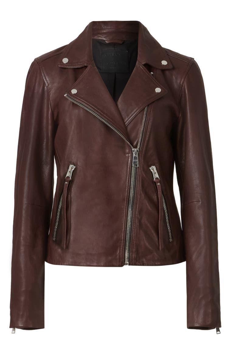 Allsaints Dalby Leather Biker Jacket Nordstrom Leather Jackets Women Leather Jacket Style Dark Brown Leather Jacket [ 1164 x 760 Pixel ]