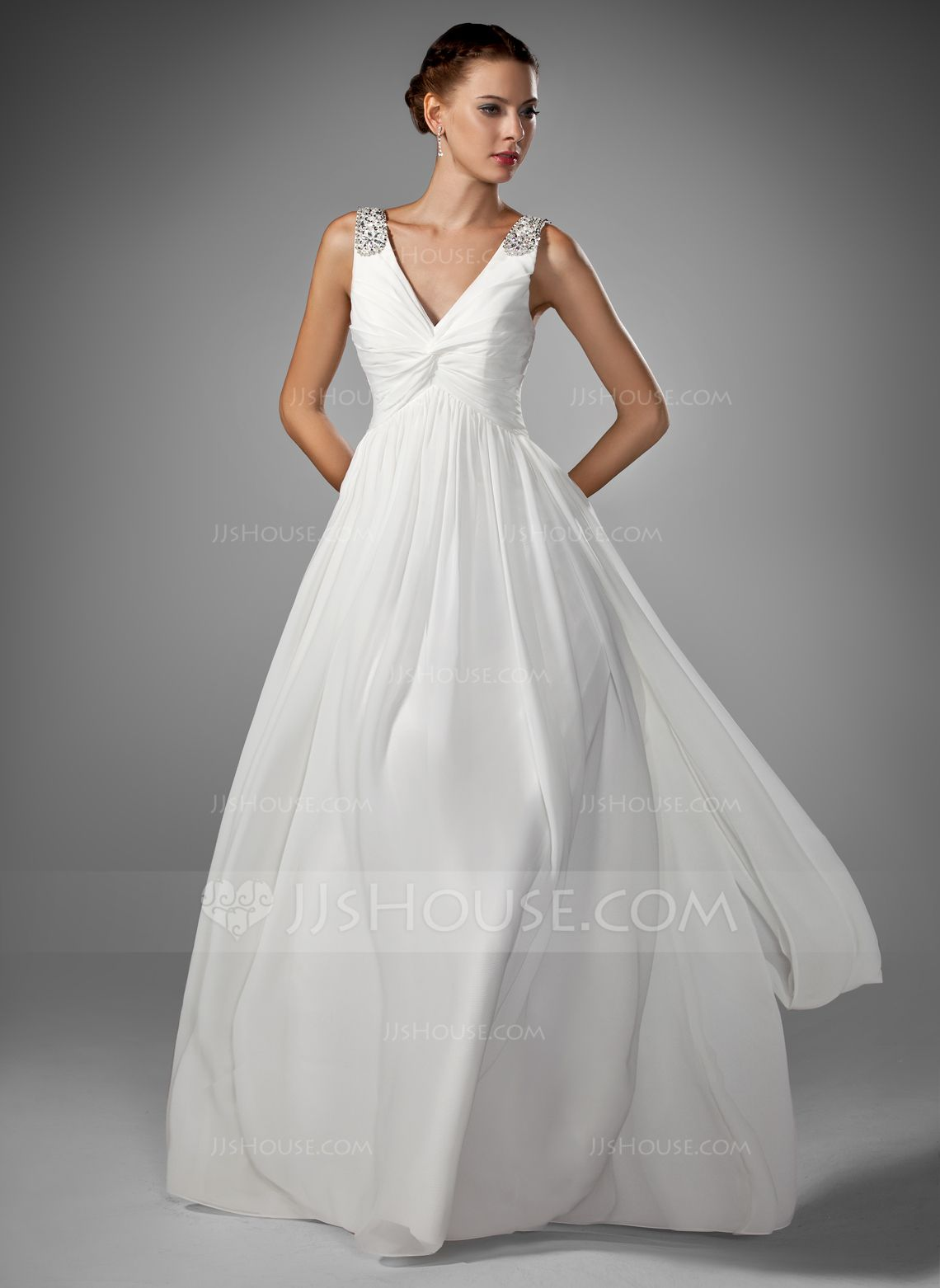Wedding dresses v neck  ALinePrincess Vneck FloorLength Chiffon Wedding Dress With