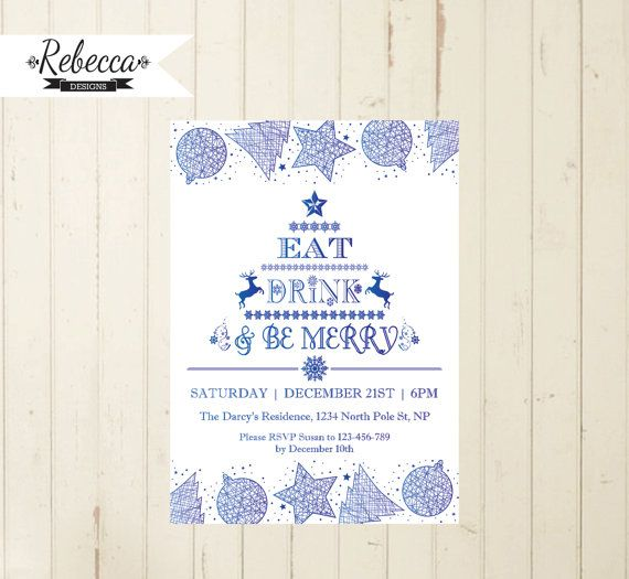 Christmas invitation eat drink be merry Holiday invitation Merry Christmas invite Christmas party Holiday party printable snowflakes white by RebeccaDesigns22