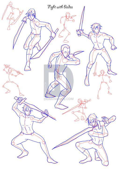 How To Draw Fighting Poses Step By Step Drawing Guide By Neekonoir Drawinghub Drawing People Sword Drawing Fighting Poses