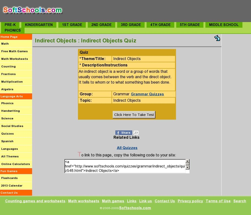 Indirect Objects Quiz From Softschools